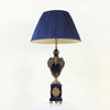 Navy Blue Ceramic & Brass Decorated Urns On Plinths Rams Head Lamp (Y)