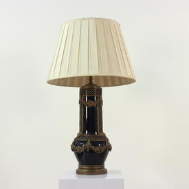 Navy Blue Ceramic & Brass Decorated Funnel Table Lamp