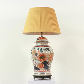 Large China Orange & White Chinese Temple Jar Style Lamp