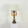 Gilt Ornate Flower Effect Lamp, Amber Glass Droplets