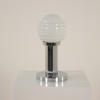 Chrome Hexagonal Based Café Table Lamp With White Glass Ball Shade (Y)