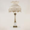 Brass Column Table Lamp With White Marble Pedestal Base