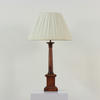 Mahogany Square Based Column Table Lamp