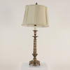 Antique Burnished Brass Ornate Column Table Lamp With Decorated Collars And Finial & Harp/Carrier. (Y)