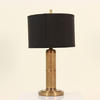 Small Antique Brass Finely Fluted Table Lamp With Brass Nickel Bullet Finial.