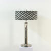Large Polished Nickel Art Deco Table Lamp With Fine Fluted Column & Nickel Bullet Finial (Y)