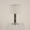 Small Polished Nickel Art Deco Table Lamp With Fine Fluted Column & Nickel Bullet Finial