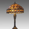 Tiffany Table Lamp With Ornate Cast Stem