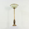 Antique Brass Finish Tall Column Table Lamp, Sq Lion Ring Handle Base & Frosted Bowl Shade