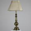 Tall Brass, Turned Column Table Lamp, Switch On Base.