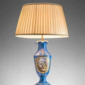 Blue Handpainted Ceramic & Brass Sevres Table Lamp