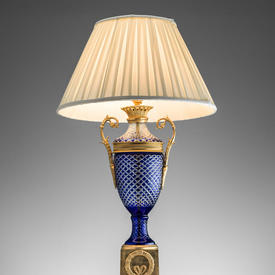Blue Cut Glass Urn Shaped Table Lamp With Brass Pedestal Base & Brass Swan Handles