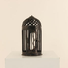"""12"""" Cast Iron Dome Shaped Hanging Candle Holder"""