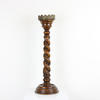 "22"" Carved Oak Barley Twist Candle Holder With Brass Top (Y)"