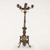 Tall Bronze And Brass Ornate 5 Light Candelabra On Tri Feet (Y)