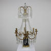 Marble & Brass Base, 6 Light Candelabra With Crystal Decor & Droplets. (Y)