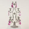 Grey Metal 6 Light Candle Holder With Purple Droplets  (Y)