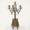 Bronze & Brass Gothic Style 5 Light Candelabra    1 A/F  (Y)