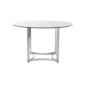 Chrome Circular Merrow Dining Table with Clear Glass Top