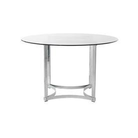 Chrome Circular Merrow Dining Table with Smoked Glass Top