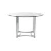 Chrome Circular Merrow Dining Table With Smoked Glass Top ( H: 72cm Diam: 122cm)