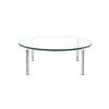 Chrome Circular 60's Coffee Table With Clear Glass Top (110cm  X 40 Cm H )