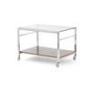 Rosewood & Chrome Side Table With Smoked Glass Top (61 Cm X 42 Cm X 41 Cm H)