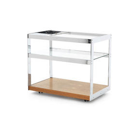 Rosewood & Chrome ''Merrow'' Drinks Trolley with Glass Top & Shelf