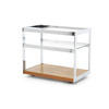Rosewood & Chrome Merrow Drinks Trolley With Glass Top And Shelf