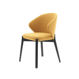 "Mustard Fabric ""Elicia"" Dining Chair on Black Legs"