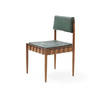 Teak & Green Seat Single Dining Chair