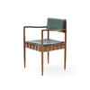 Teak & Green Seat Carver Dining Chair