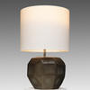 Indigo & Smoke Grey Glass Cubistic Table Lamp With White Drum Shade