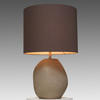 Smoke Grey Patara Glass Ribbed Table Lamp With Grey Drum Shade