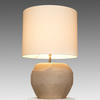 Smoke Grey Cubistic Glass Table Lamp With White Drum Shade