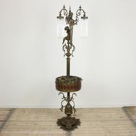 Bronze Ornate Cherub Tri Arm Standard Lamp With Glass Droplet Shades & Planter