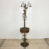 Bronze Ornate Cherub Tri Arm Standard Lamp With Glass Droplet Shades & Planter (Y)