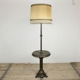 Bronze/Brass Embossed Standard Lamp With Circular Shelf On Tri Foot Base
