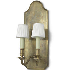 Burnished Brass Double Candle Sconce Wall Light On Brass Back.
