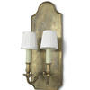 Burnished Brass Double Candle Sconce Wall Light On Brass Back. (Y)
