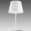 White 'tank' Table Lamp + Pleated Metal Shade