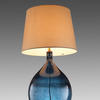 Garrata Soild Blue Glass Bottle Lamp With Cream Shade