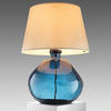 Solid Blue Glass Simplicity Table Lamp With Cream Shade