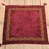140cm Square Crushed Claret Velvet Throw Gold Embroidered Border With Tassels (Y)