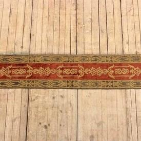 200x40cm Khaki Crushed Velvet Table Runner With Red & Gold Decor And Gold Tassels (Y)