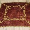 120cm Square Terracotta And Gold Crushed Velvet Throw  (Y)