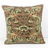 46cm Square Khaki Crushed Velvet Cushion With Red & Gold Decor (Y)