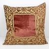 Large 60cm Square Crushed Velvet Terracotta & Gold Floor Cushion (Y)
