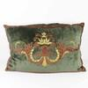 60x40cm Khaki Velvet Cushion With Gold And Red Decoration (Y)
