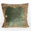 50cm Square Khaki Crushed Velvet Cushion With Red & Gold Decoration (Y)